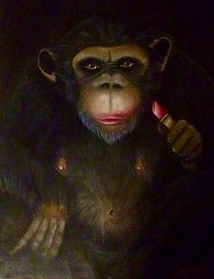 Miss Chimpanzé Pastel à l'huile et tecnique aux doigts 60x80.jpg