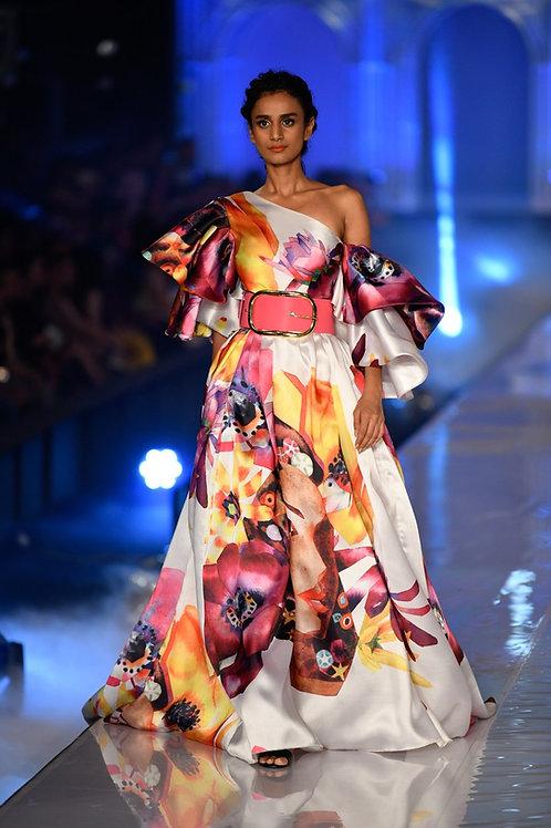 One shoulder cold shoulder layered sleeves gown