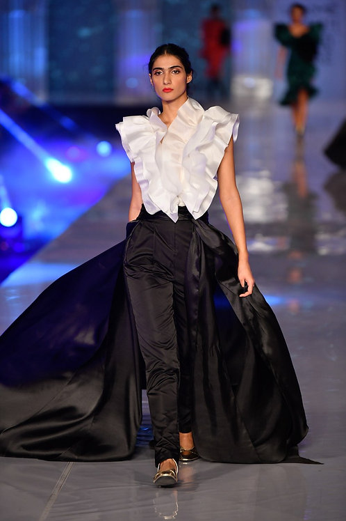 Duchesse satin paper bag waistband pants