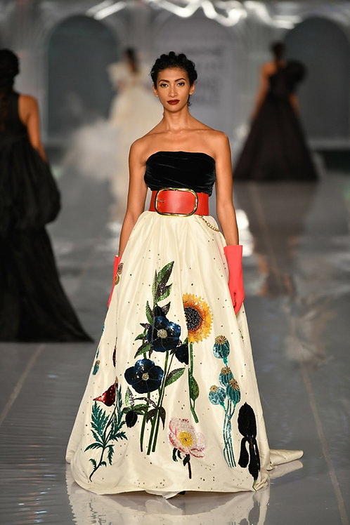 Strapless corsetted flared gown with botanical embroidery