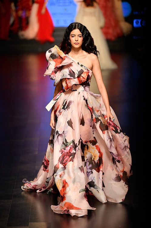 One shoulder gown with big layered bow