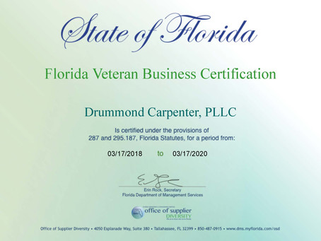 Drummond Carpenter, PLLC certified as Service-Disabled Veteran-Owned Small Business