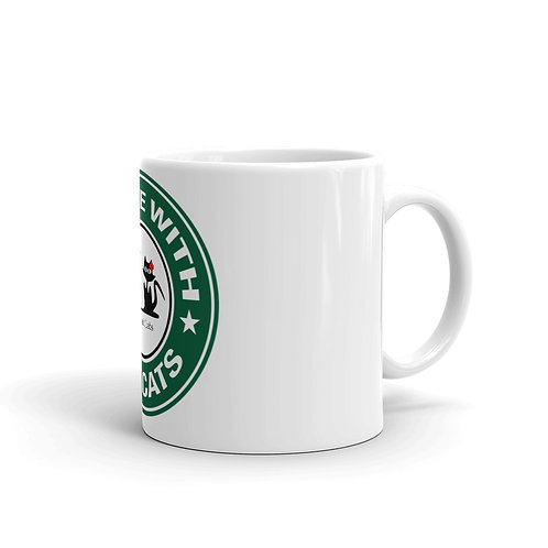 White glossy mug - Coffee with the Cats