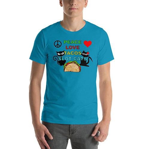 Short-Sleeve Unisex T-Shirt - Peace Love & Tacos