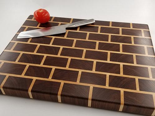 Handcrafted Large Wood Cutting Board, Walnut, Maple, Brick Pattern, End Grain