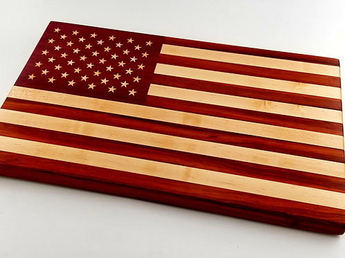 Beautiful Handcrafted Wooden Cutting Board Flag, Independence Day, 4th of July