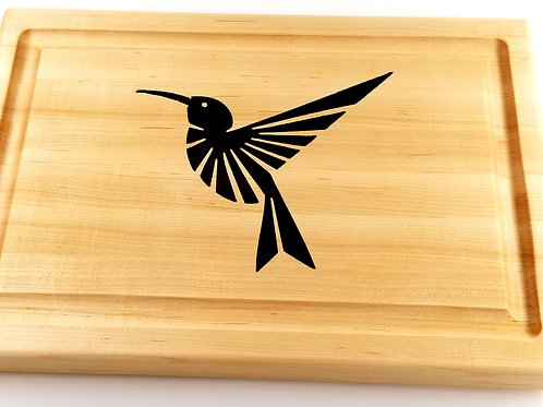 Handcrafted Wood Inlay Humming Bird Cutting Board. Great Gift For any Bird Lover
