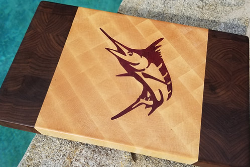 Handcrafted Wood Inlay Marlin End Grain Cutting Board.