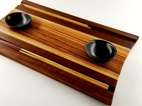 Wood Sushi Board, Serving Tray, With Chop Stix and Bowls