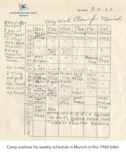 Carey outlines his weekly schedule in Munich in this 1960 letter. Images from the Thomas Carey papers.
