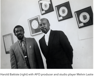 Harold Battiste [right] with AFO producer and studio player Melvin Lastie