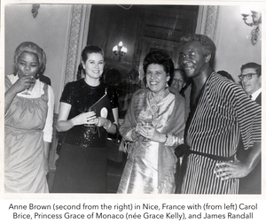 Anne Brown (second from the right) in Nice, France with (from left) Carol Brice, Princess Grace of Monaco (née Grace Kelly), and James Randall