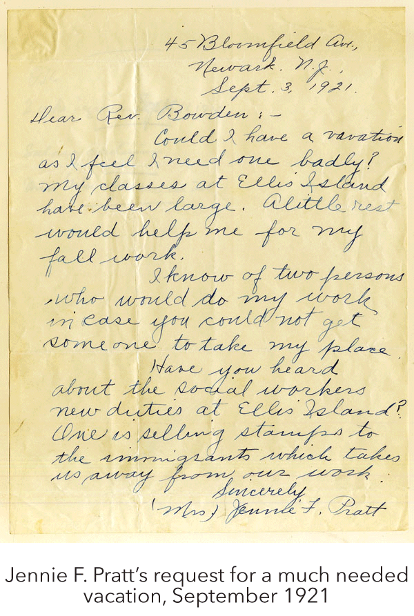 Jennie F. Pratt's request for a much needed vacation, September 1921