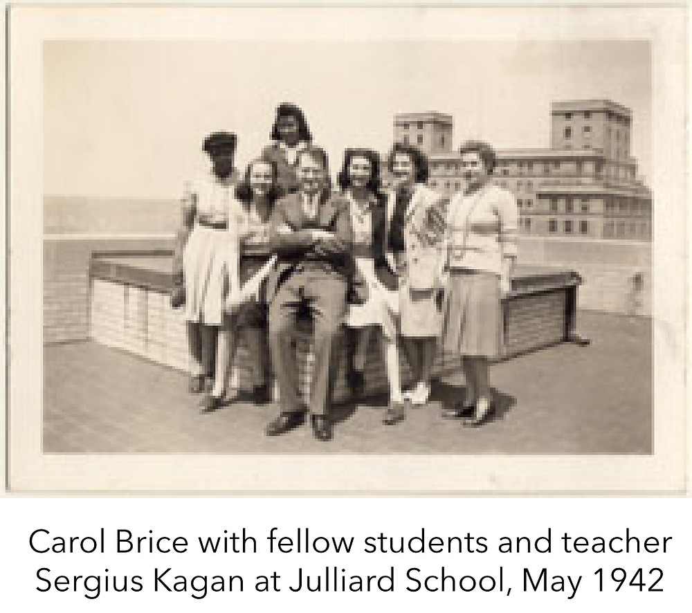 Carol Brice with fellow students and teacher Sergius Kagan at Julliard School, May 1942