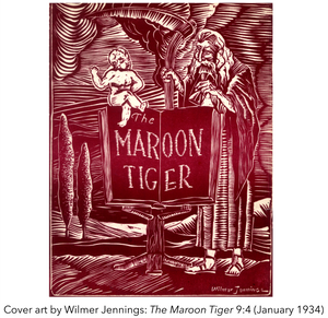 Cover art by Wilmer Jennings: The Maroon Tiger 9:4 (January 1934)