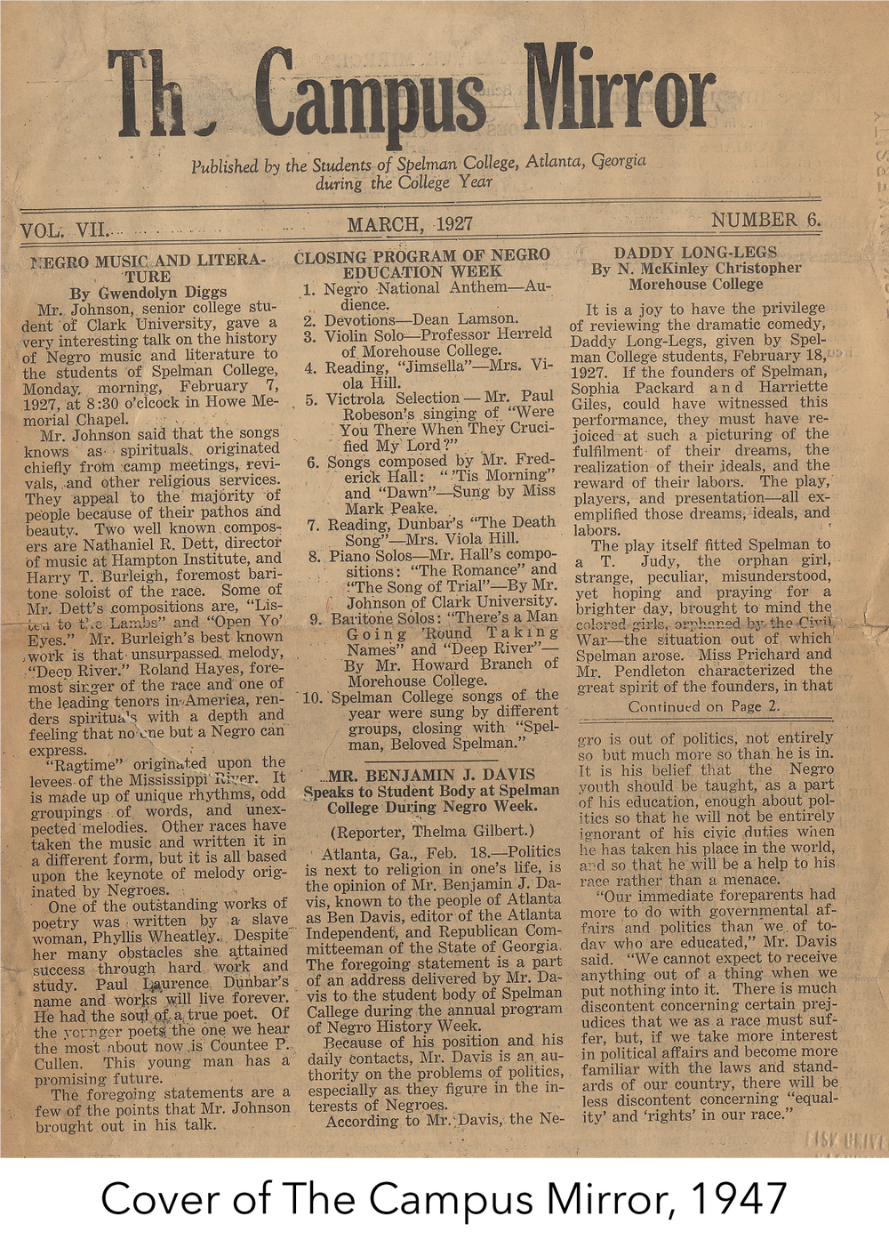 Cover of the Campus Mirror, 1947