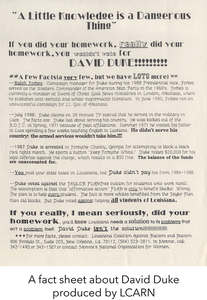 A fact sheet about David Duke produced by LCARN