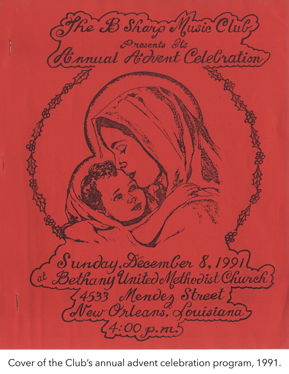 Cover of the Club's annual advent celebration program, 1991.
