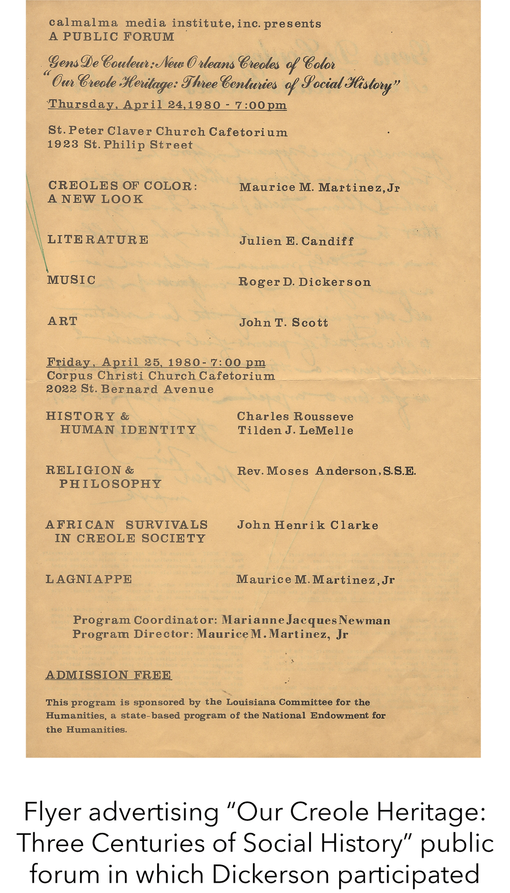 "Flyer advertising ""Our Creole Heritage: Three Centuries of Social History"" public forum in which Dickerson participated"
