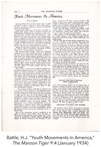 """Battle, H.J. """"Youth Movements In America"""" The Maroon Tiger 9:4 (January 1934)"""