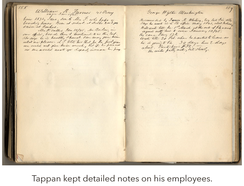 Tappan kept detailed notes on his employees.