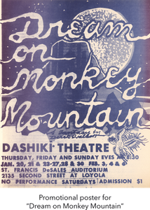 "Promotional poster for ""Dream on Monkey Mountain"""