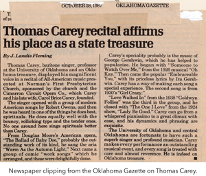 Newspaper clipping from the Oklahoma Gazette on Thomas Carey. Images from the Thomas Carey papers.