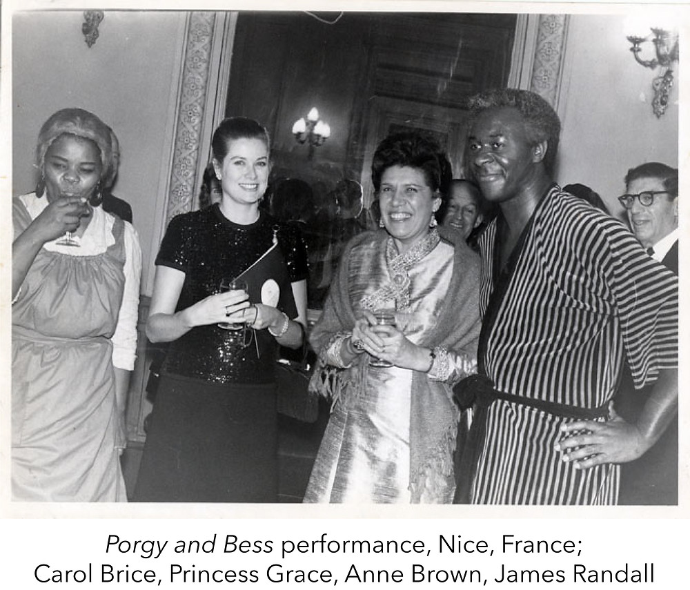 Porgy and Bess performance, Nice, France; Carol Brice, Princess Grace, Anne Brown, James Randall