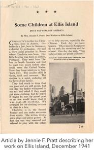 Article by Jennie F. Pratt describing her work on Ellis Island, December 1941