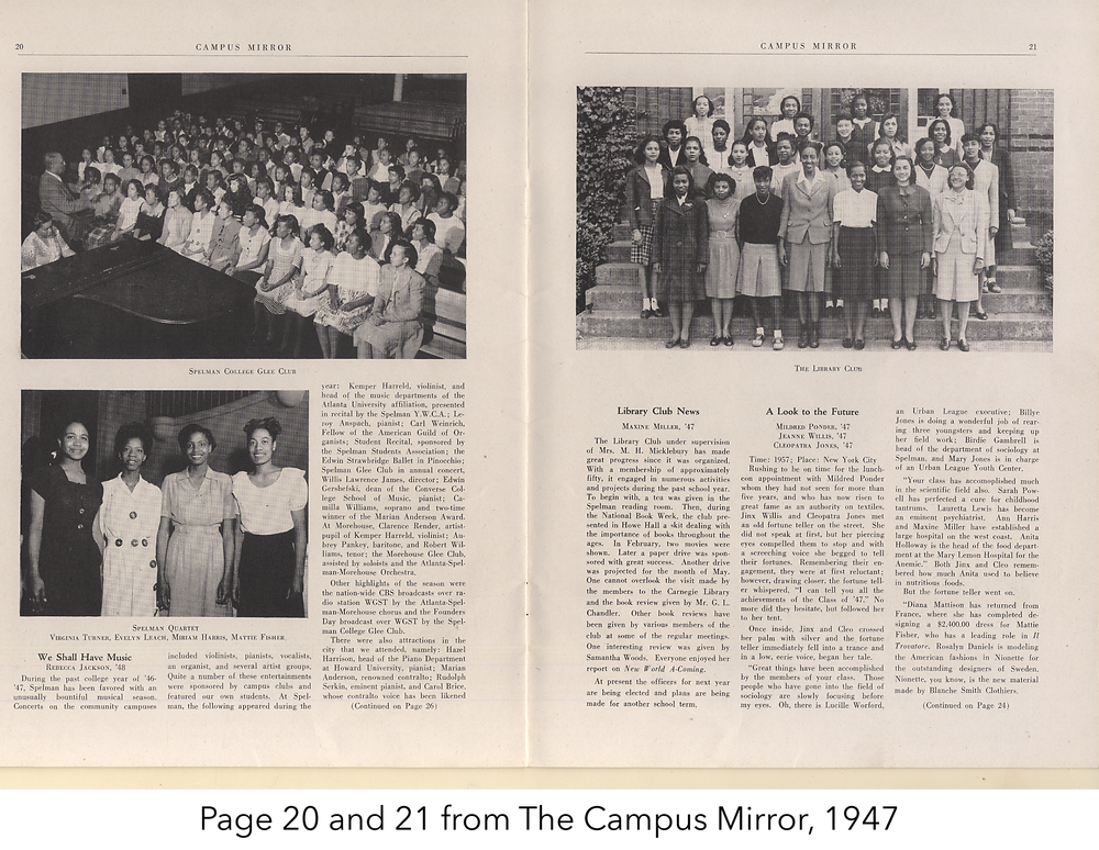 Page 20 and 21 from the Campus Mirror, 1947