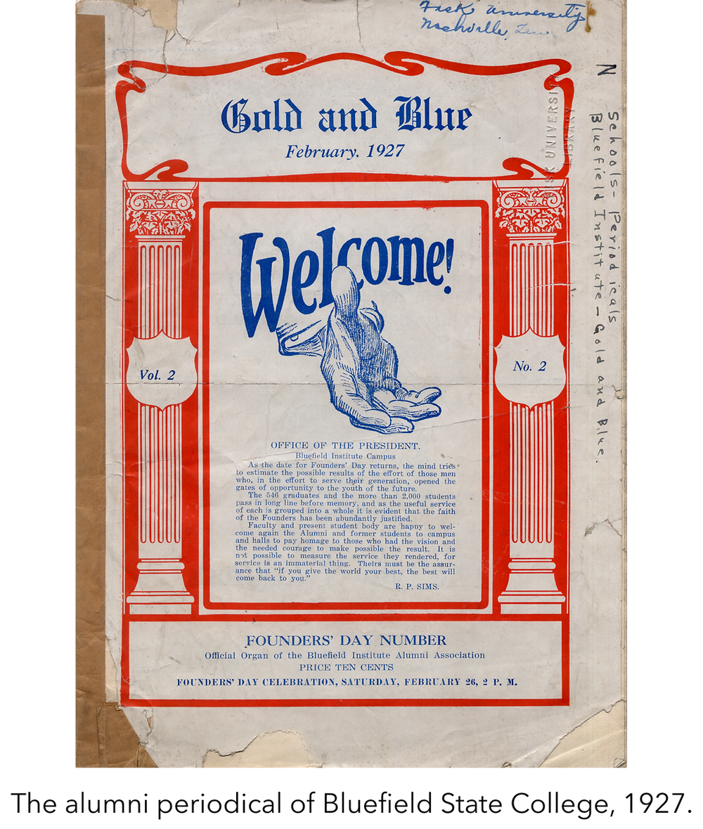 The alumni periodical of Bluefield State College, 1927.