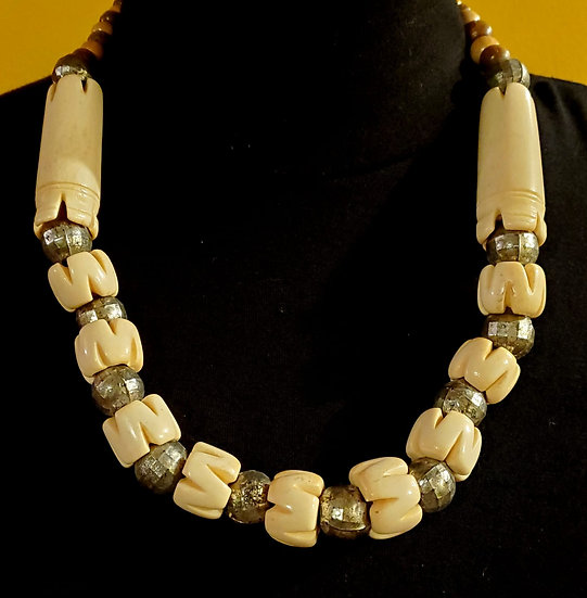 Beaded Cow Bone Necklace