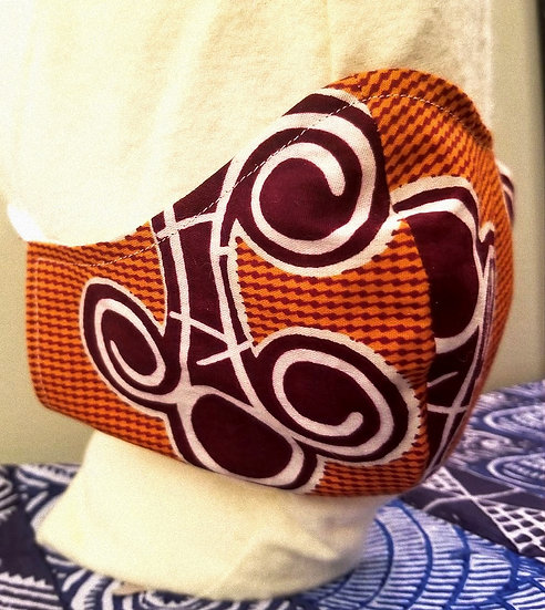 Elegant Orange Print Mask