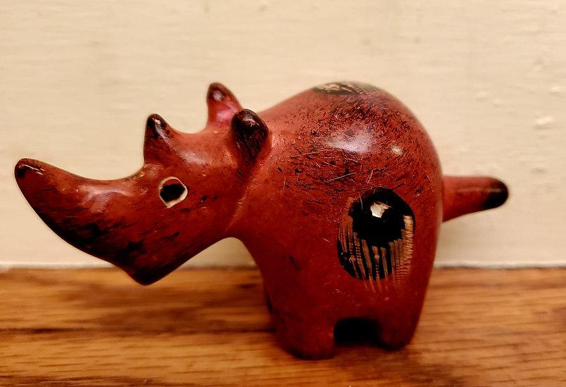 Painted Soapstone Rhino (Orange)