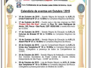 Calendário de eventos do Grande Oriente Independente de São Paulo - GOISP, Outubro de 2015