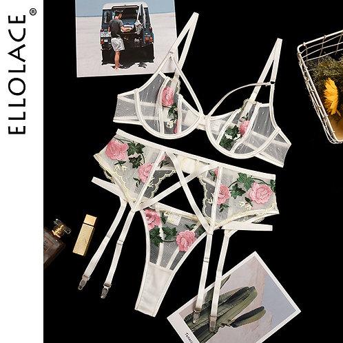 Floral Embroidery Transparent Bra Set
