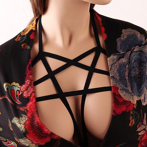 Pentagram Bondage Goth Bra