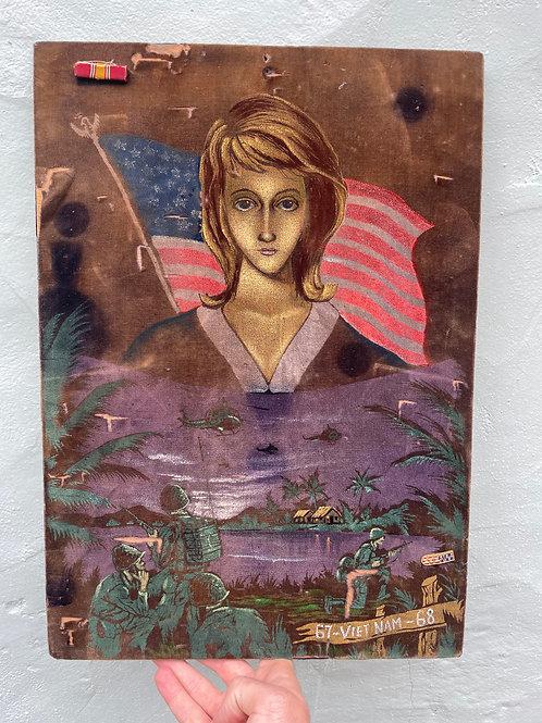 Vietnam War Souvenir Velvet Painting