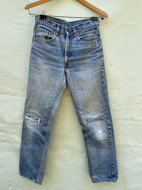 1980's Levis 505 with incredible mending and fade 30x30