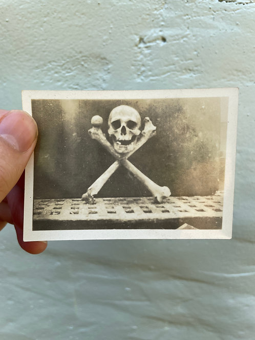 Posed Photograph of Human Skull and Crossed Bones