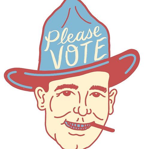 """Bob Wills """"Please Vote"""" Stickers"""