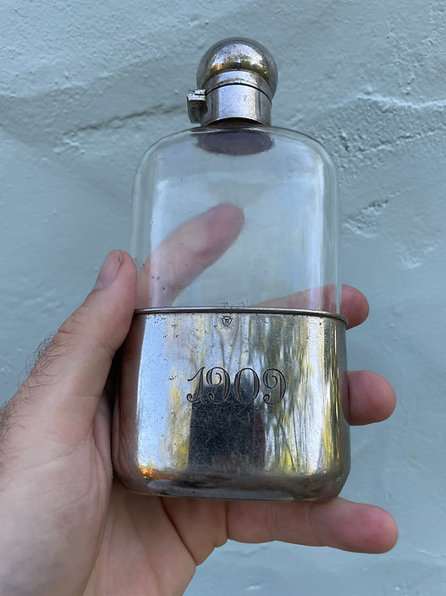 Antique 1909 Flask with Detachable Silver Cup