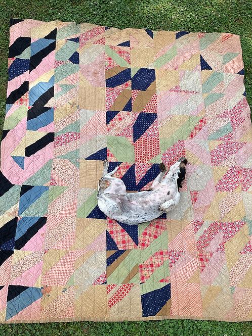 1940's Folk Art Quilt 5'x7'
