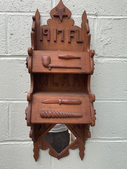 Folk Art, Sailor's Hand Carved Cabinet