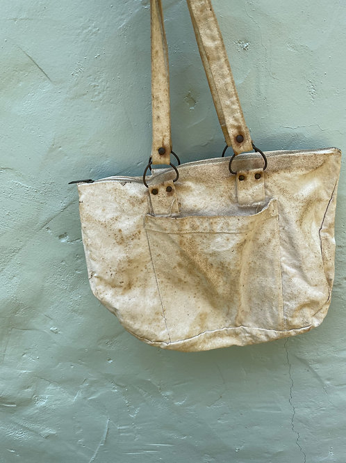 1940s Excellent Patina Canvas Tote