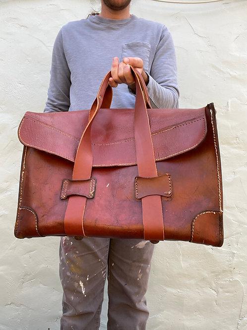 1950's Custom Large Rectangular Leather Tote