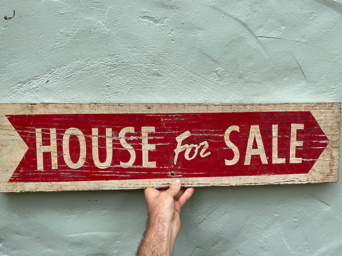 Hand Painted HOUSE FOR SALE Sign on solid wood