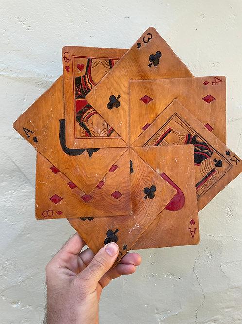 Hand Carved Folk Art Card Tray