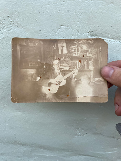 Real Photo Postcard of Musician to His Sweetheart