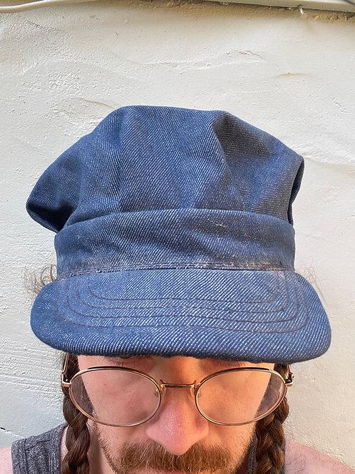 1950s Raw Denim Conductor Hat Size 7 3/8